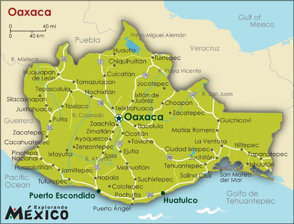 map of oaxaca state in mexico
